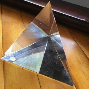 Tiffany & co crystal paperweight pyramid triangle